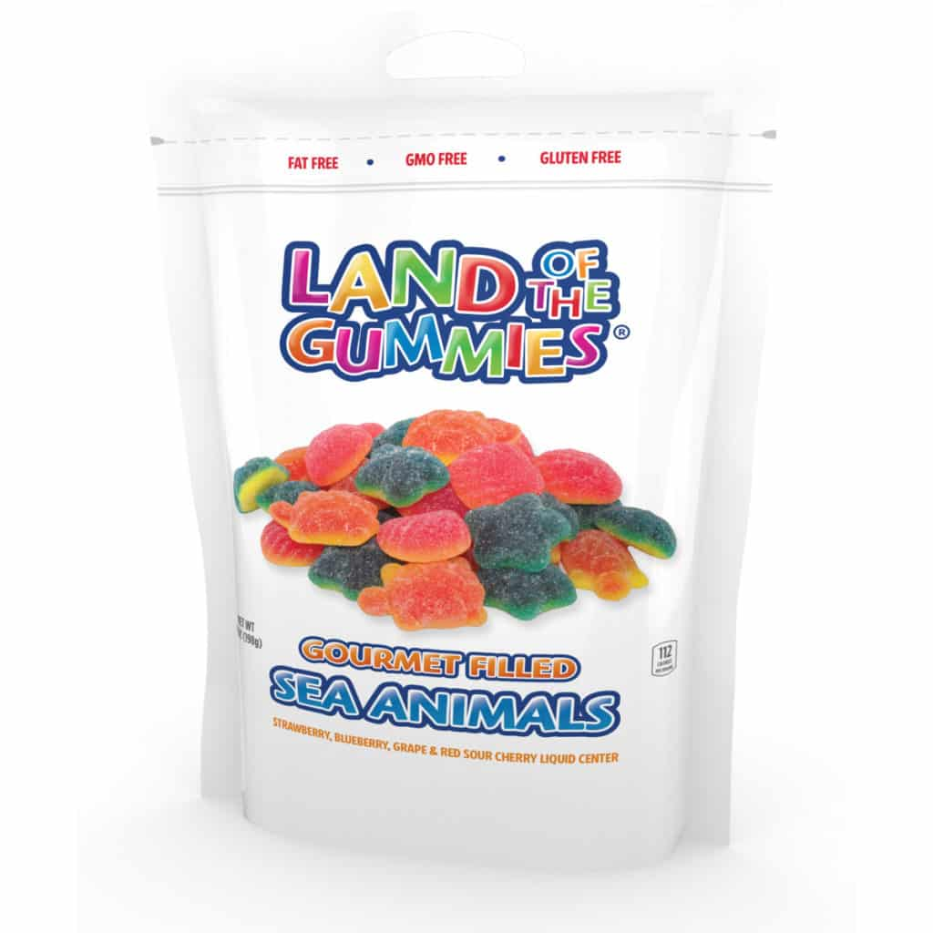 Gourmet Filled Gummy Sea Animals 7oz Stand Up Pouch